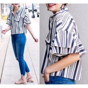 A New Day Striped Ruffle Flutter Sleeve Crop Top